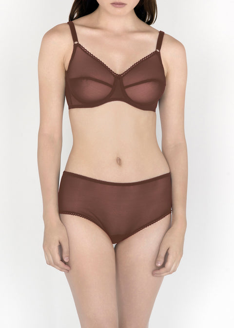 Sheer French Tulle Full Brief in Neutral Tones