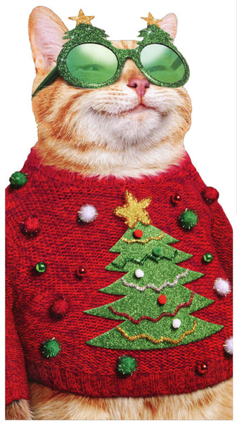 Cat in Ugly Christmas Sweater Christmas Card