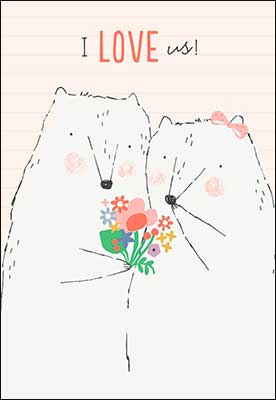 Boy Bear Amd Girl Bear With Flowers