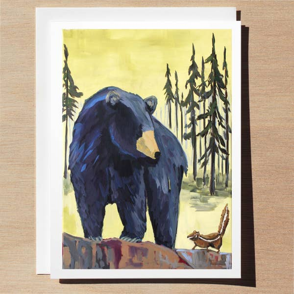 Black Bear And Chipmunk Card - Wildlife Collection Wl0010