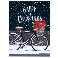Poinsettia Bicycle Christmas Boxed
