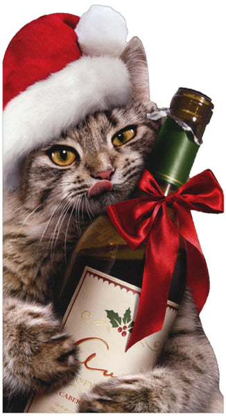 Christmas Cat Hugging Wine Bottle