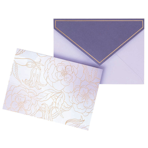 Folding Box Card Set - Purple with gold flowers