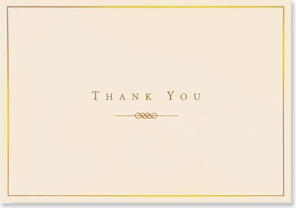 Gold And Cream Thank You Notes