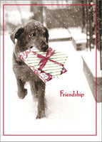 Dog Carrying Present In Snow Funny / Humorous Black Lab Christmas Card
