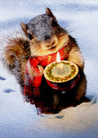 Snowy Squirrel Holds Candle Christmas Card