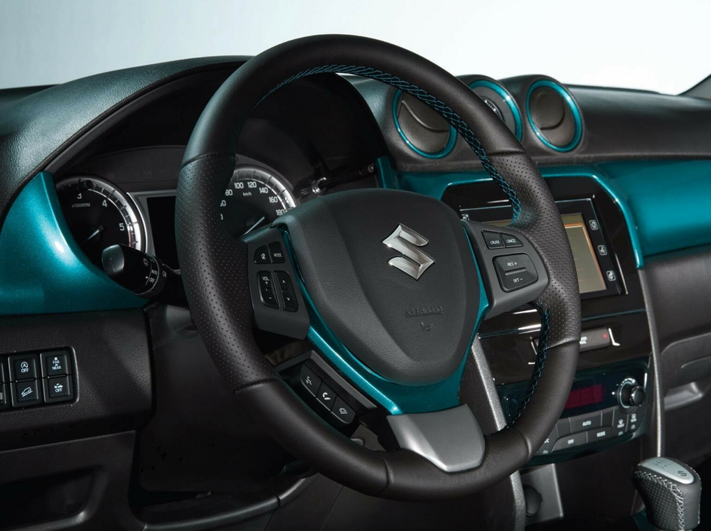 Suzuki Leather Steering Wheel Turquoise Stitching