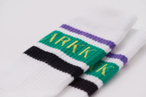 ARKK Accessories The High Sock - Striped White Soft Teal Socks White Soft Teal