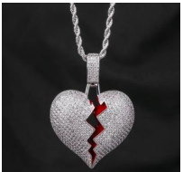 Load image into Gallery viewer, Broken Heart White Gold Pendant
