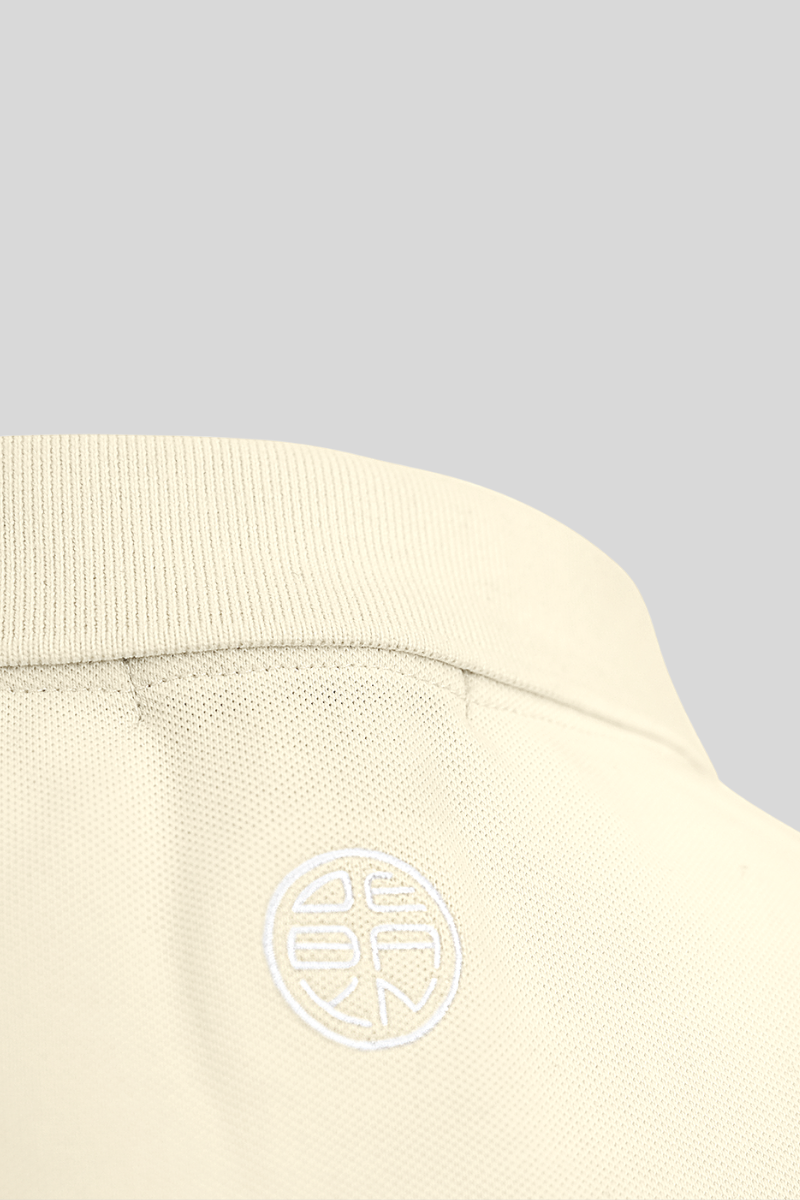 Polo Light Yellow Menton Debayn Embroidered Logo Back