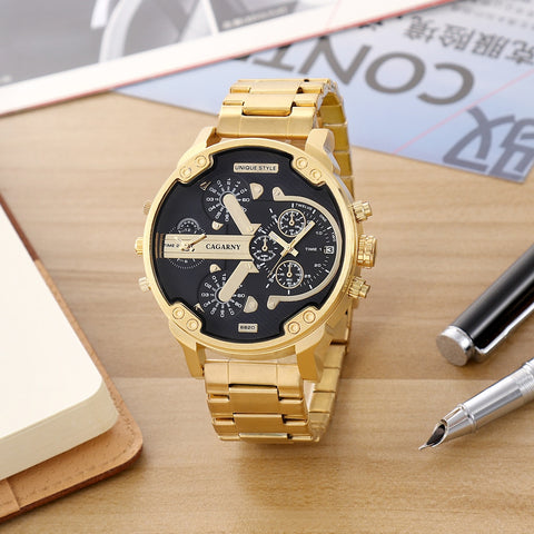 Стилен мъжки часовник Luxury Gold Steel Band Large Dial Quartz Wristwatch