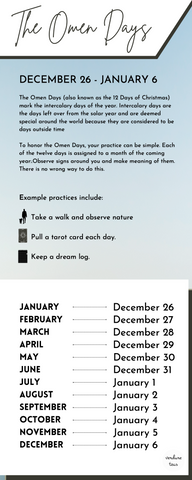 Infographic explaining the definition for The Omen Days: The Omen Days (also known as the 12 Days of Christmas) mark the intercalary days of the year. Intercalary days are the days left over from the solar year and are deemed special around the world because they are considered to be days outside time.