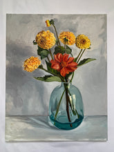 Load image into Gallery viewer, Yellow Dahlias in blue