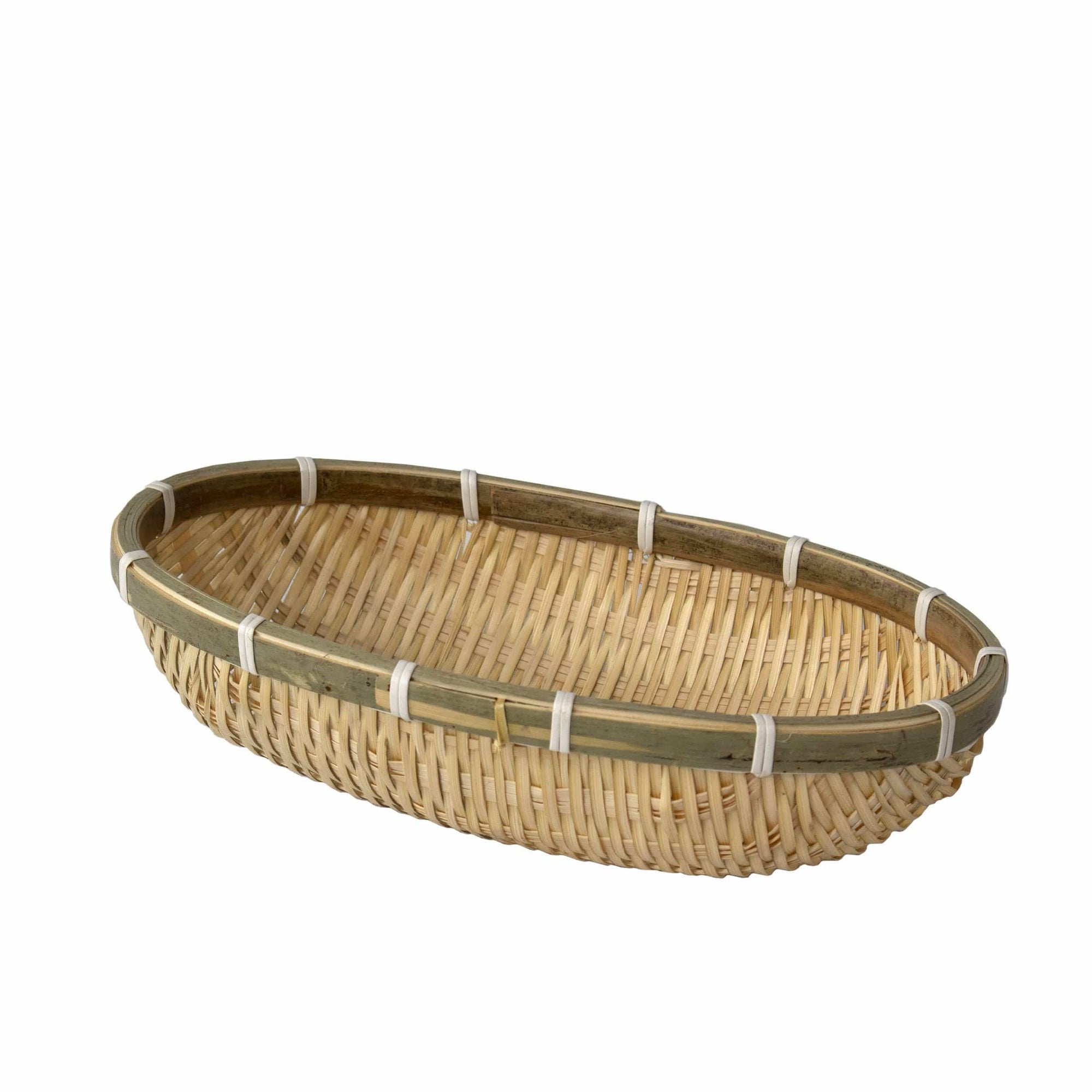 Made Terra Bamboo Basket Wicker Wire Fruit Basket Oval Storage Basket | Rustic Decorative Woven Fruit Bowl for Bread Fruit Snacks Candy | Households Items