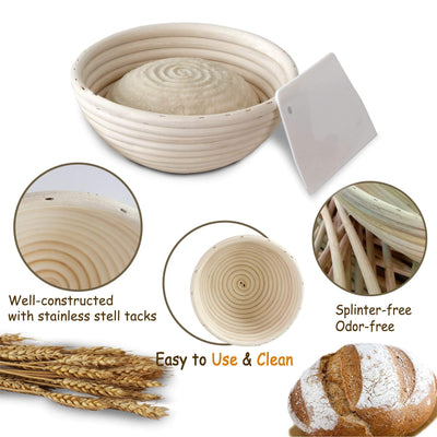 "Made Terra Banneton Banneton Bread Proofing Basket Set | Rattan Cane French Style Artisan Sourdough Bread Basket with Liner for Professional & Home Bakers (9"" Round)"