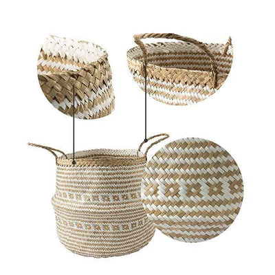 Made Terra Belly basket Belly Basket with Handles | Woven Baskets for Laundry Storage & Home Supplies (Large)