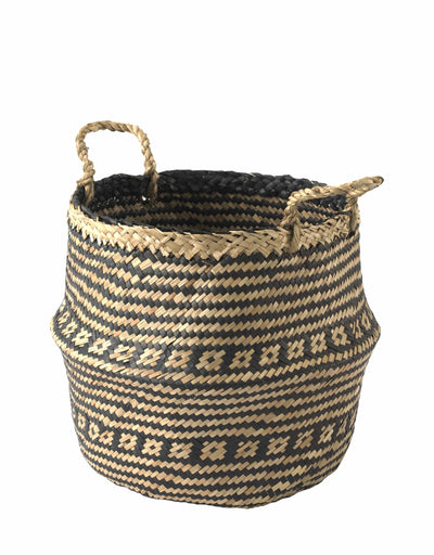 Made Terra Belly Basket Black Brocade Belly Basket with Handles | Woven Baskets for Laundry Storage & Home Supplies (Small)