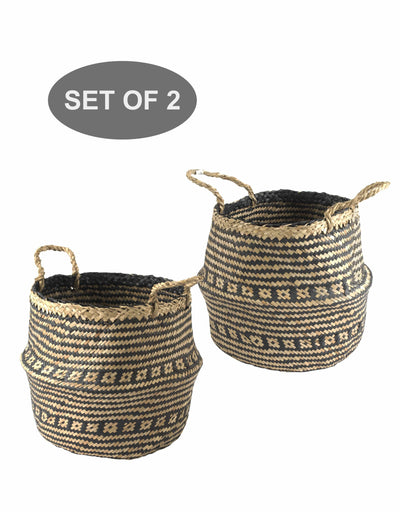 Made Terra Belly Basket Set 2 Black Brocade Belly Basket with Handles | Woven Baskets for Laundry Storage & Home Supplies (Small)