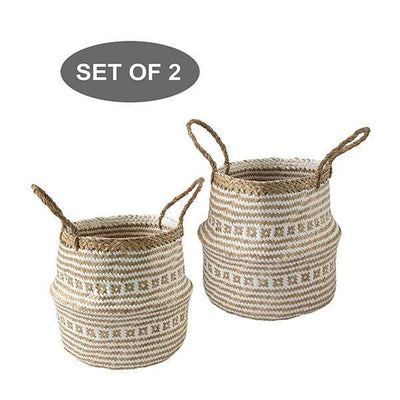 Made Terra Belly Basket Set 2 White Brocade Belly Basket with Handles | Woven Baskets for Laundry Storage & Home Supplies (Small)
