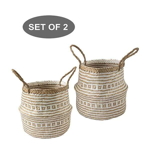 Made Terra Belly Basket White Brocade Belly Basket with Handles | Woven Baskets for Laundry Storage & Home Supplies (Small)