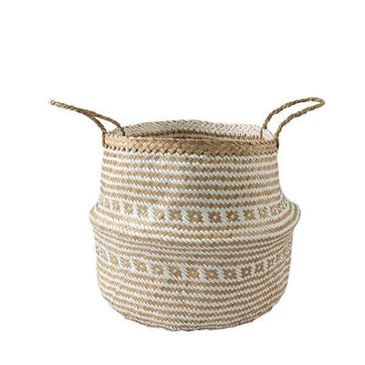 Made Terra Belly basket White Brocade Belly Basket with Handles | Woven Baskets for Laundry Storage & Home Supplies (Large)
