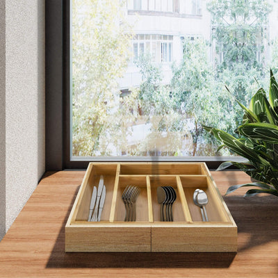 Made Terra Cutlery Tray Wooden Bamboo Expandable Cutlery Tray Kitchen Drawer | Insert Storage Organizer