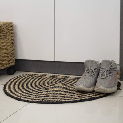 Made Terra Door mat Semi Circle Woven Indoor Doormat Natural Seagrass Non Slip Resist Dirt Half Round Entrance Rug Entry Way Welcome Doormat Floor Mat Rug For Patio Front Door 40 x 60 cm