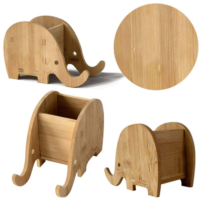 Made Terra pen holder Wooden Elephant Pen Holder with Phone Stand, Handmade Multi-Functional Desk Supplies