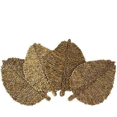 Made Terra Placemats Natural leaf Set of 4 Leaf Shaped Fabric Placemats for Dining Table, Natural Braided Rug, Handmade, Marine Straw, Wicker, Heat Resistant, Thermal Insulation, Non-slip