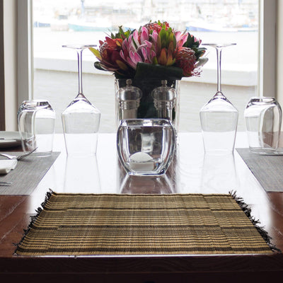 Made Terra Placemats Rectangle Placemats with Fringe | Washable Bamboo Table Mats for Kitchen Dining Table (Set 4)
