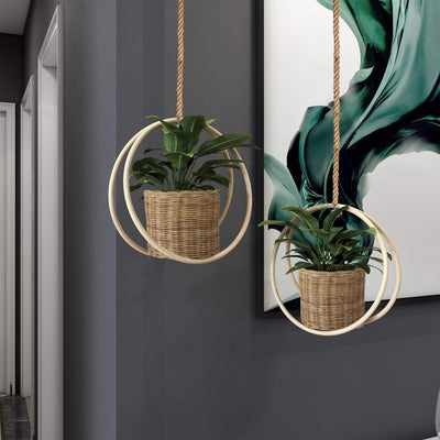 Made Terra Planter Cover Hanging Wicker Plant Pot Cover |  Indoor Outdoor Garden Plant Hanger and Flower Pots