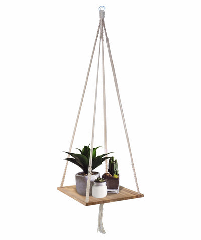 Made Terra Planter Hanger Set 1 / W-Natural Macrame Plant Hangers Shelf | Hanging Planter for Boho Home Decor