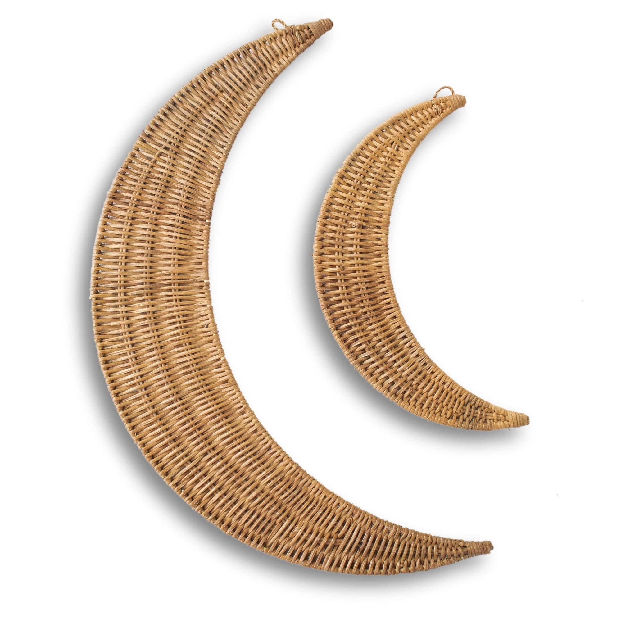Made Terra Rattan Crescent Moons Wall Hanging Wood Wall Art | Wall Mounted Boho Wood Art Wooden Modern (Set 2)