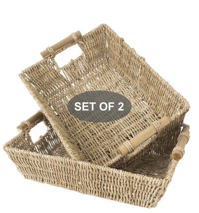 Made Terra Seagrass storage basket Natural Seagrass Wicker Baskets with handles - Brown | Set of 2