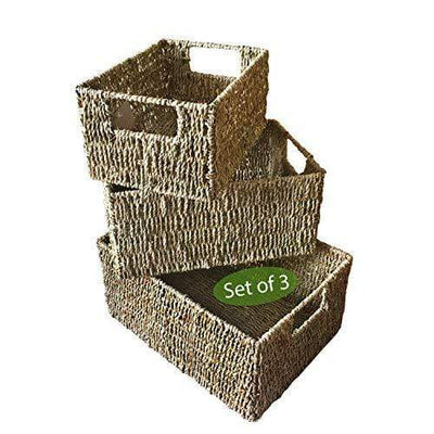 Made Terra Seagrass storage basket Natural Set 3 Wicker Storage Baskets for Home Organization and Decor | Closet Wicker Baskets for Shelves with Insert Handles | Straw Wire Woven Baskets for Kitchen, Pantry (Natural Seagrass)