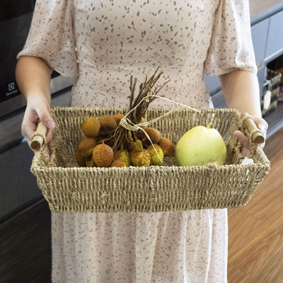 Made Terra Seagrass storage basket Seagrass Wicker Baskets with handles - Brown | Set of 2