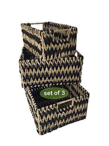 Made Terra Seagrass storage basket Set 3 Wicker Storage Baskets for Home Organization and Decor | Closet Wicker Baskets for Shelves with Insert Handles | Straw Wire Woven Baskets for Kitchen, Pantry (Natural Seagrass)
