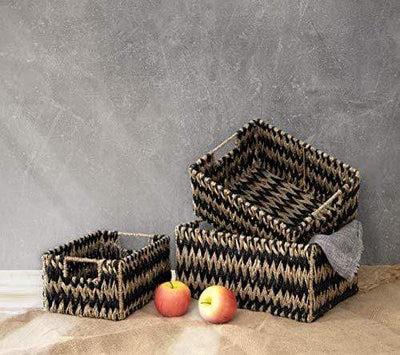 Made Terra Seagrass storage basket Zigzag Set 3 Wicker Storage Baskets for Home Organization and Decor | Closet Wicker Baskets for Shelves with Insert Handles | Straw Wire Woven Baskets for Kitchen, Pantry (Natural Seagrass)
