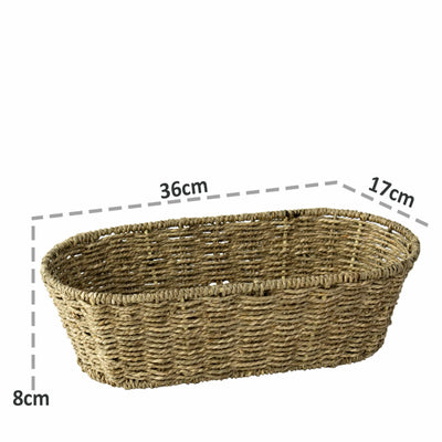 Made Terra Serving basket Oval Seagrass Serving Tray Platter Bowl | Chic Decorative Rustic Storage Tray (Set 2)
