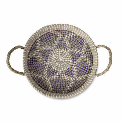 Made Terra Serving basket Purple Star Seagrass Wicker Serving Trays with Handles D34cm Round | Handcrafted Breakfast, Food, Dish, Coffee, Bread Serving Basket Trays for Home and Restaurants