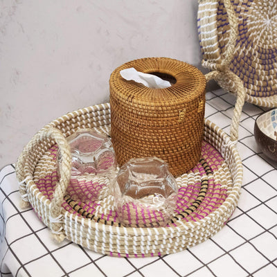 Made Terra Serving basket Seagrass Wicker Serving Trays with Handles D34cm Round | Handcrafted Breakfast, Food, Dish, Coffee, Bread Serving Basket Trays for Home and Restaurants