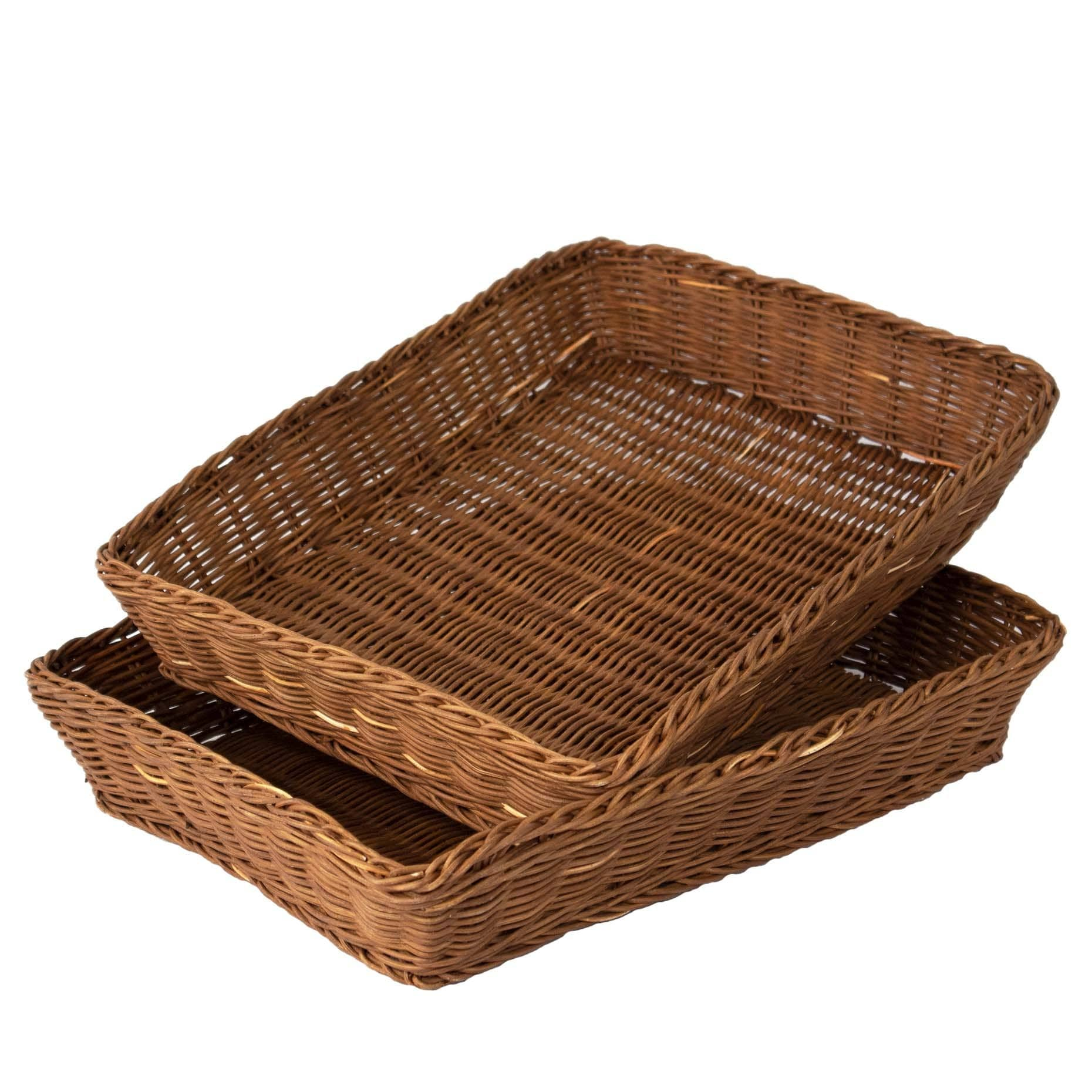 Made Terra Serving Tray 2 Pack Large Premium Wicker Storage Basket,Serving Trays and Coffee Trays,Hand Woven Serving and Decorative Trays for Coffee,Breakfast,Bread,Food,Dish,Snacks for Kitchen,Living Room,Bathroom Storage(2 Pack Large)