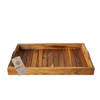 Made Terra Serving Tray Acacia Natural Tray Wooden Serving Tray w Handles | Ottoman Tray, Wood Tray, Wood Serving Tray