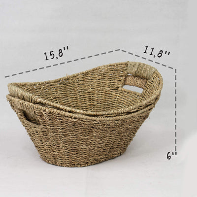 Made Terra Storage basket Seagrass Wicker Fruit Baskets Storage Organiser with Handles for Kitchen, Home and Office Decor