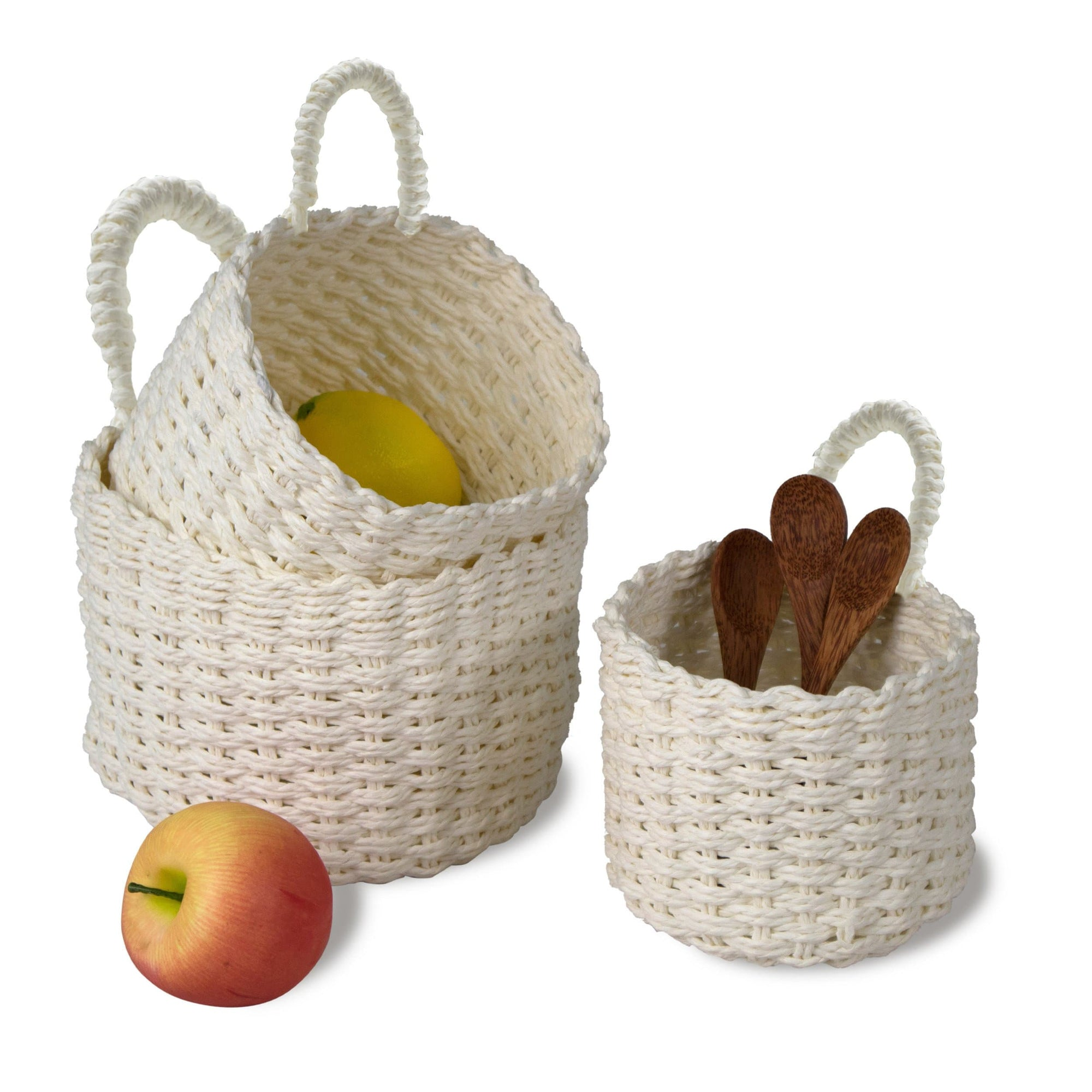 Made Terra Storage basket White Circle Woven Wall Hanging Baskets for Storage and Plant Pot Cover