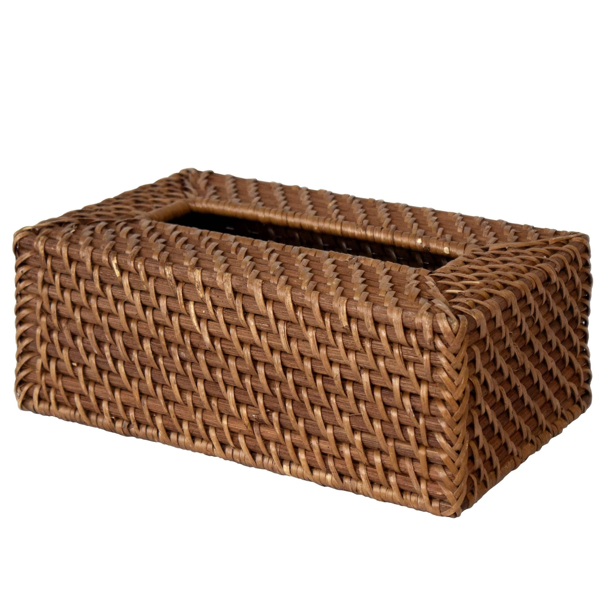Made Terra Tissue Box Cover Brown Rectangular Rattan Tissue Box Cover | Handwoven Wicker Napkin Paper Dispenser