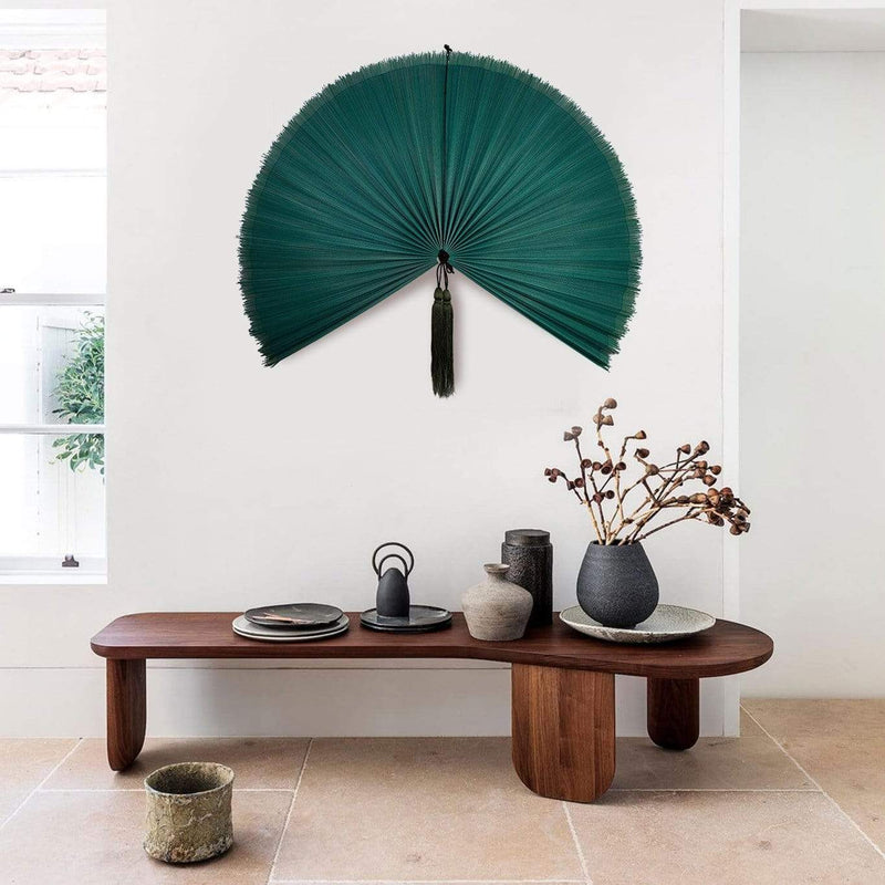 Made Terra Wall Fan Fan Teal Bamboo Fan Wall Decor | Rustic Wall Pediment | Beautiful Wall Art (Medium size)
