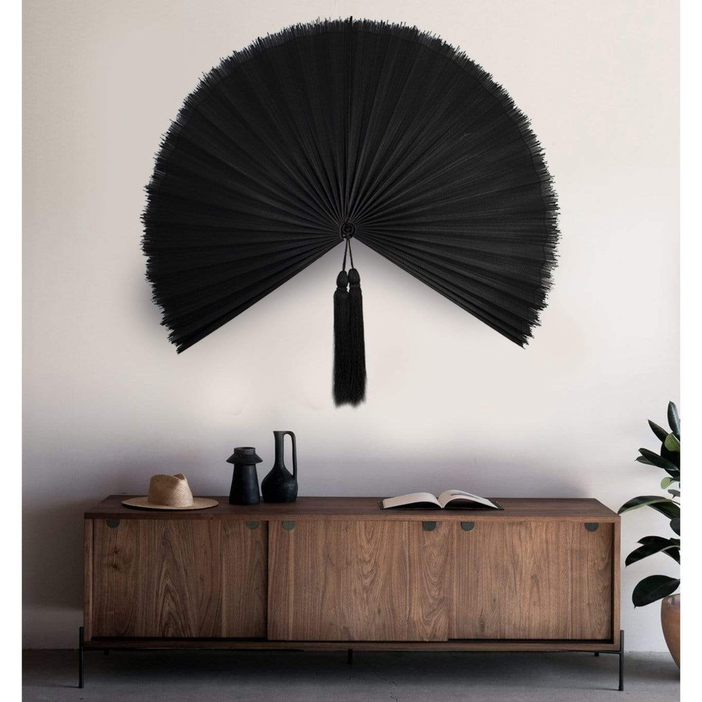 Made Terra Wall Fan Fan Black Giant Folding Wall Hanging Fan | Rustic Boho Woven Wall Pediment | Oriental Charm (Bamboo)