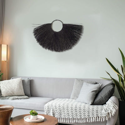 Made Terra Wall Fan Rustic Wall Hanging Accents (Half-moon) | Woven Wall Pediment Art for Apartment, Dorm Room Decoration
