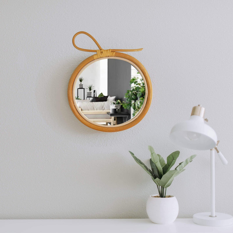 Made Terra Wall Mirror Rattan Frame Mirror | Wall-mounted Boho Geometric Decorative Nordic Mirror, Artistic Pediment
